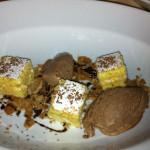 torta paradiso, croccante di cannoli, gelato al cioccolato e riduzione di marsala